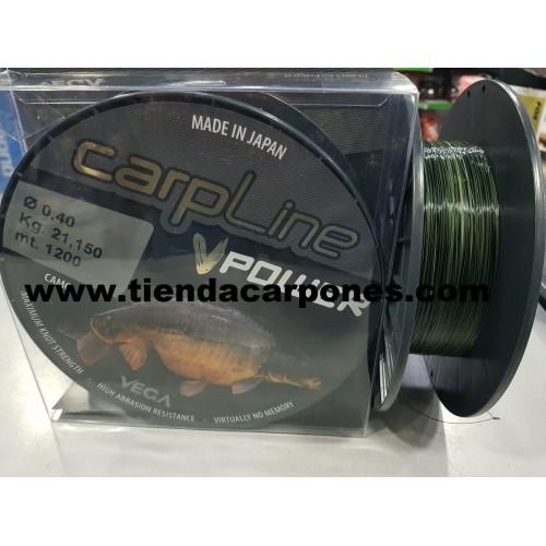 Vega Carp Line Power 0.40 mm 21.150kg 1200m (negro,camo o verde)