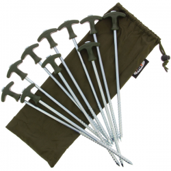 "Ngt Picas Pack of 10 x 12"" 30,60cm Bivvy Pegs in Case"