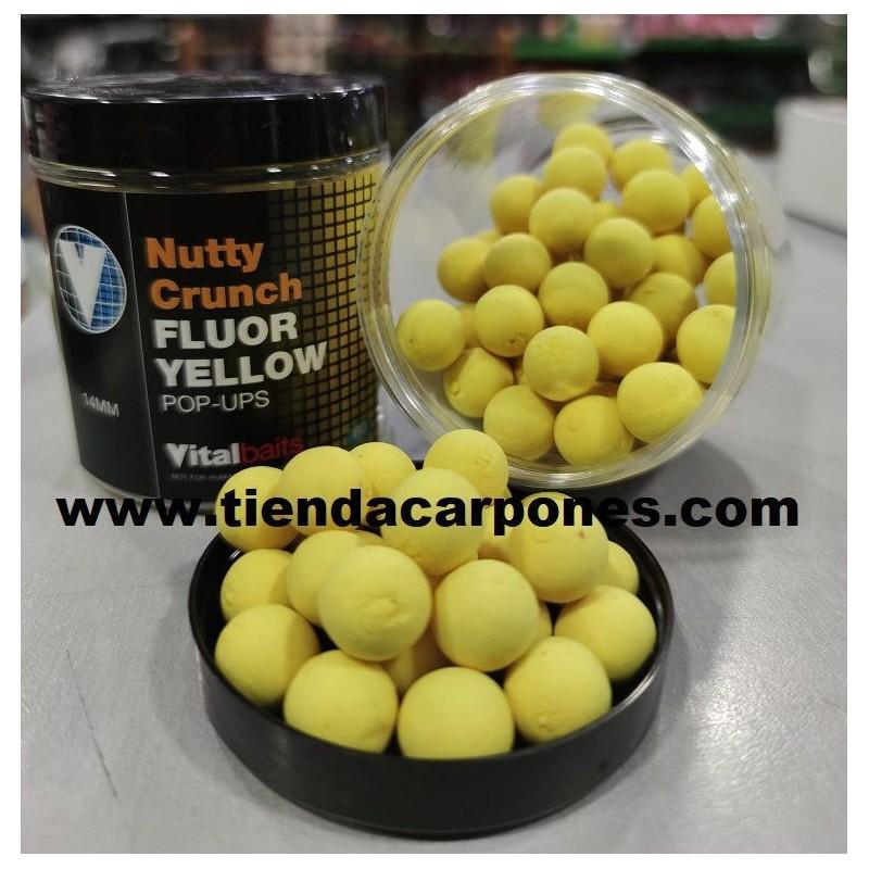Vital Baits Boilies Flotantes Nutty Crunch 14mm Fluor Amarillo (Nuevo 2019)
