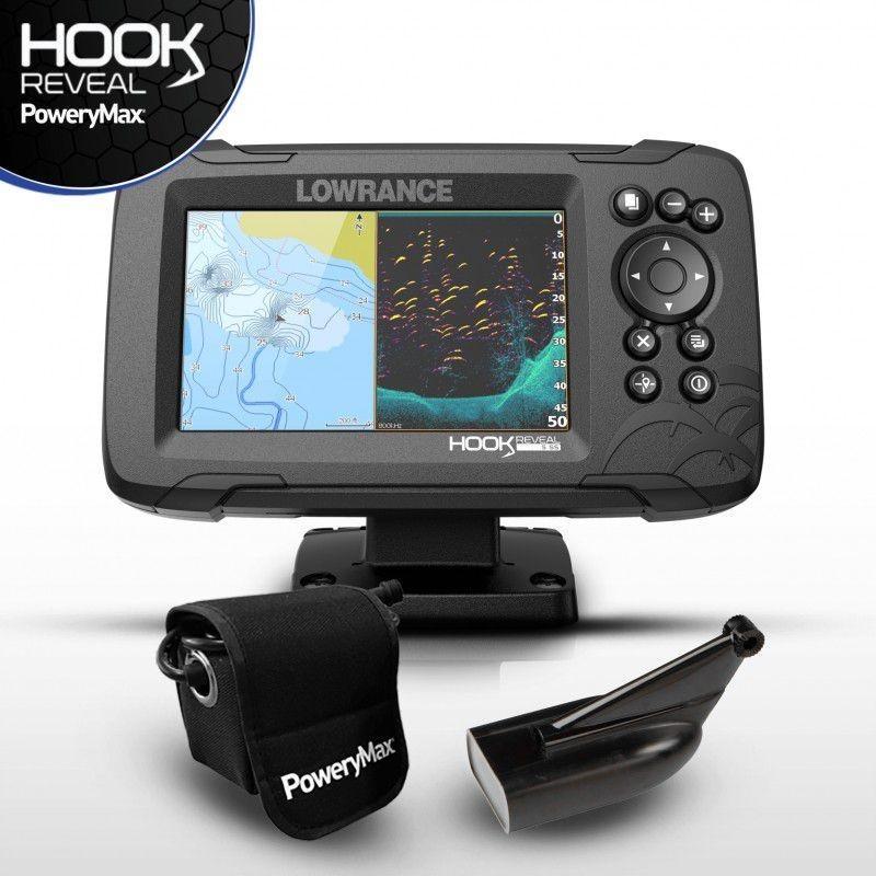 Sonda GPS Plotter Lowrance HOOK Reveal 5 HDI 83/200 + Bateria PoweryMax Ready PX5