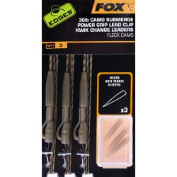 Fox Edges Submerge Camo Leader Lead Clip Kwik Change x3