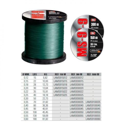 ASARI Trenzado MS 9fibras PE 1000m 0.35mm