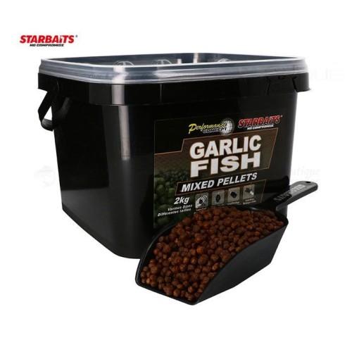 Pellets Mixed Starbaits Probiotic GARLIC FISH 2kg Cubo+pala