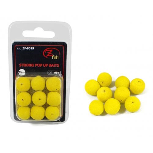 Zfish Foam Pop up Baits Yellow 15mm 9 UNIDS