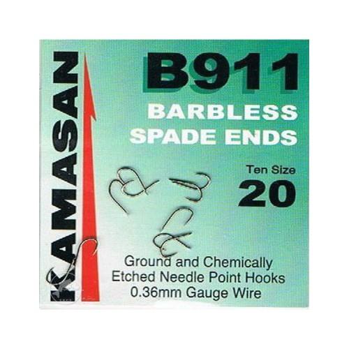 Kamasan B911 Barbless Spade Ends Nº18 sin muerte