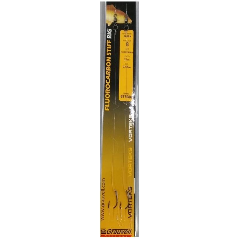 Vorteks Flurocarbon Stiff Rig 2 unid Anzuelo 803bn nº6 0.42mm 22cm