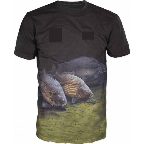 Carp T-shirt Camiseta 3 carpas Negra