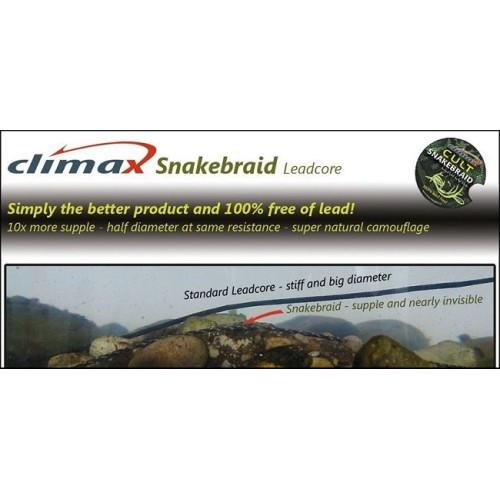 Climax SNAKEBRAID leadcore Libre de Plomo 40lb/19.5kg 10m