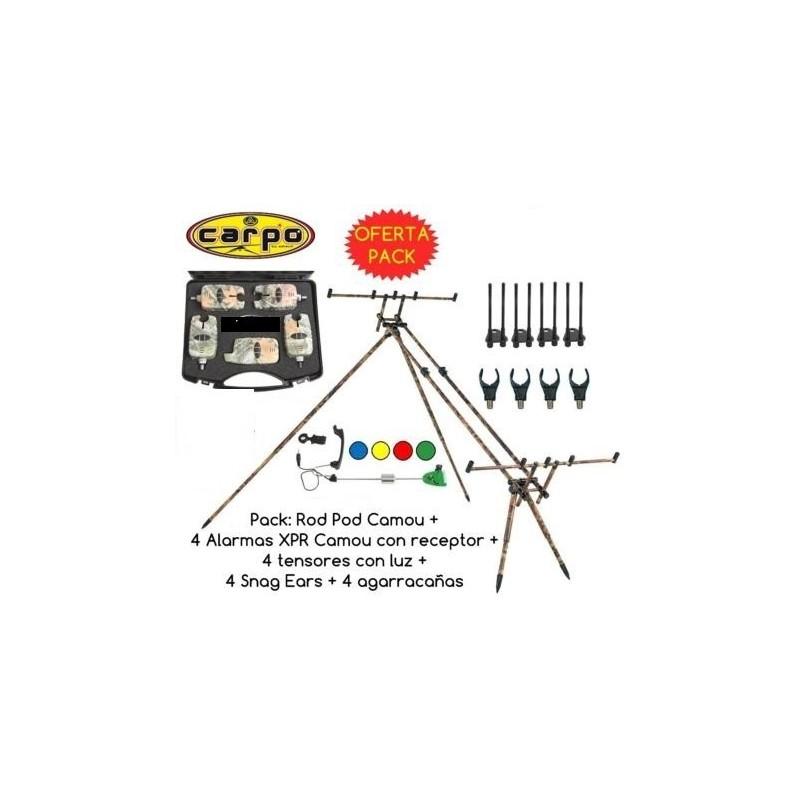 PACK: CARPO ROD CAMOU+ 4 ALARMAS XPR + RECEPTOR, TENSORES Y SNAG EARS.